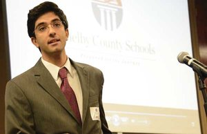 UAB School of Medicine student and Shelby County Schools graduate Ameen Barghi delivers a keynote address during the Showcase of Schools event on April 16.