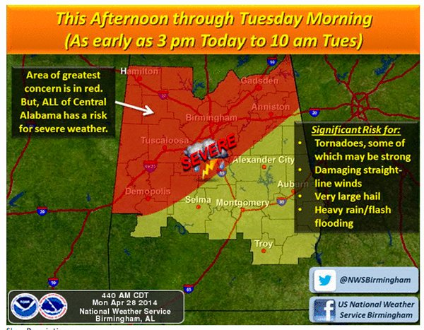 Severe weather expected April 28-29 1