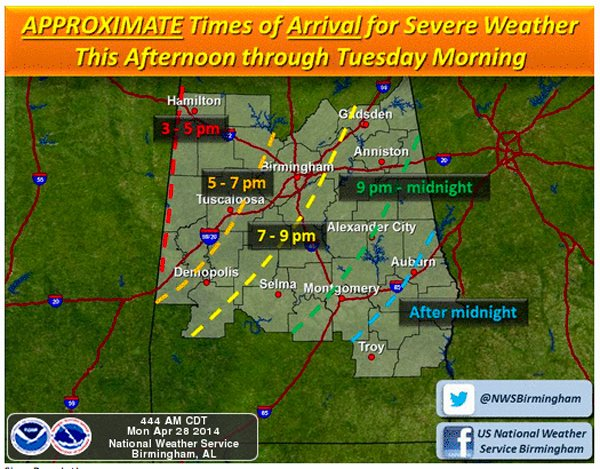 Severe weather expected April 28-29 2
