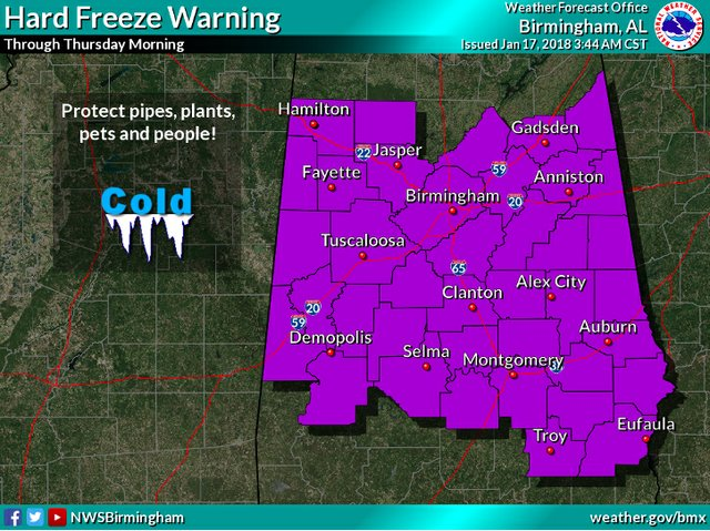 Hard freeze warning 1-17-18 3-44am