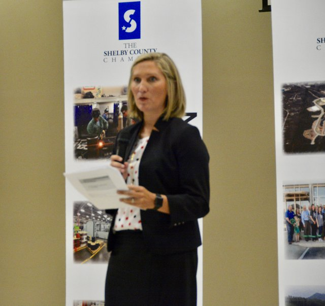 Probate Judge Allison Boyd addresses the crowd at the Sept. 5 chamber luncheon.