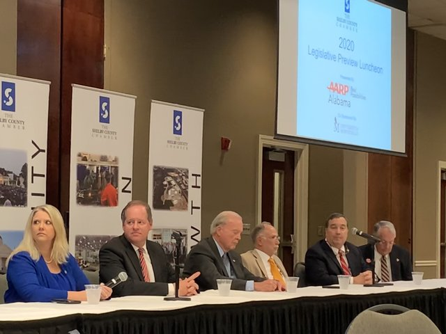 Alabama legislators speak to the audience at the Legislative Preview luncheon on Jan. 15.