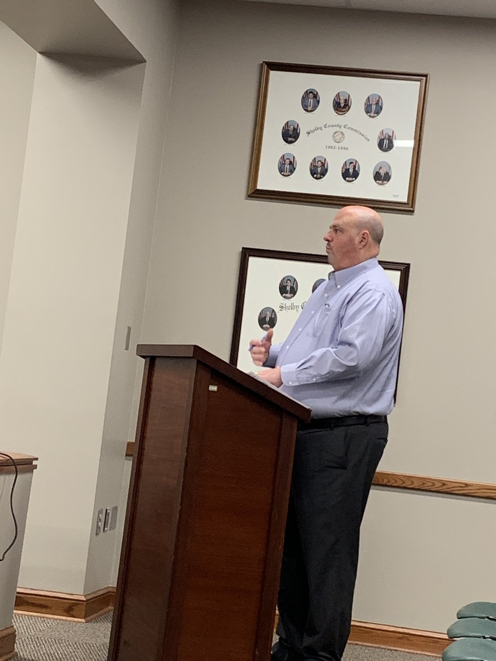 EMA Manager Hub Harvey speaks at the Feb. 10 commission meeting