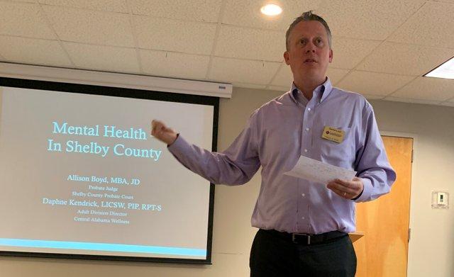 Shelby Baptist Medical Center CEO Daniel Listi addresses the Leadership 2020 class on Healthcare Day Feb. 11, 2020.