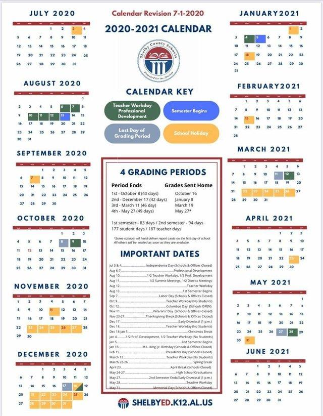 Shelby Co Schools 2020-21 calendar