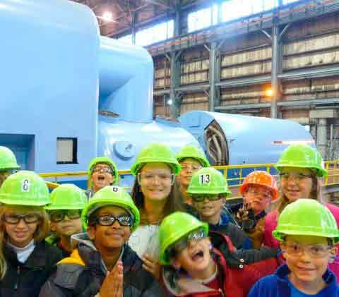 Greystone Elementary students at the Gaston Steam Plant